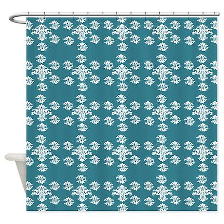 White Damask Pattern On Dark Teal Shower Curtain By ShowerCurtainsWorld