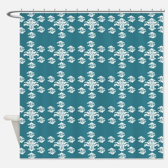 dark teal shower curtain. white damask pattern on dark teal Shower Curtain Dark Teal Curtains  CafePress