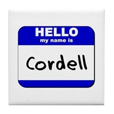 hello my name is cordell  Tile Coaster