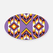 Native American Design Purple Oval Car Magnet