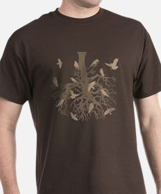 Tree with Ravens Brown T-Shirt