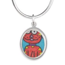 House Meow Silver Oval Necklace