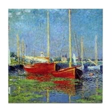 Monet Boats at Argenteuil Tile Coaster