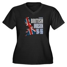 British Invasion Women's Plus Size V-Neck Dark T-S