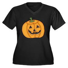HALLOWEEN PU Women's Plus Size V-Neck Dark T-Shirt