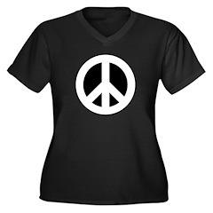 White on Black Peace Sign Women's Plus Size V-Neck