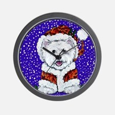 Westie in Snow Wall Clock
