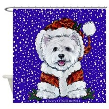 Westie in Snow Shower Curtain