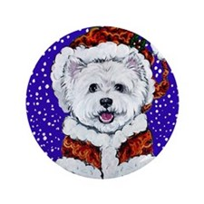 "Westie in Snow 3.5"" Button"