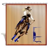 Barrel racing Shower Curtains