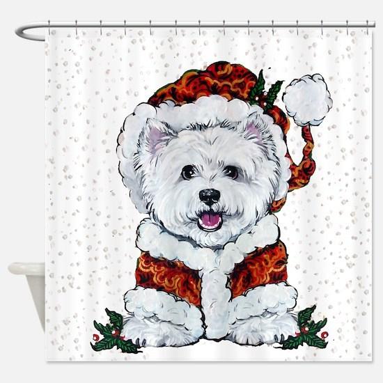 Santas Westie Helper Shower Curtain