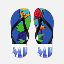 Macaw, Parrot, Butterfly,  Jungle MIAMI Flip Flops
