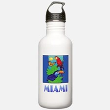 Macaw, Parrot, Butterf Water Bottle