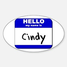 hello my name is cindy Oval Decal
