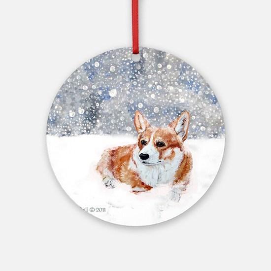 Corgi Winter Snow Ornament (Round)