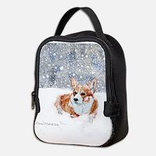 Corgi Winter Snow Neoprene Lunch Bag