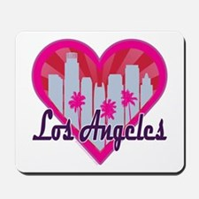 LA Skyline Sunburst Heart Mousepad