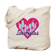 LA Skyline Sunburst Heart Tote Bag
