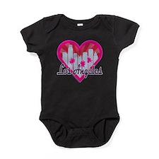 LA Skyline Sunburst Heart Baby Bodysuit