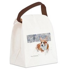 Winter Corgi Canvas Lunch Bag