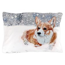 Winter Corgi Pillow Case