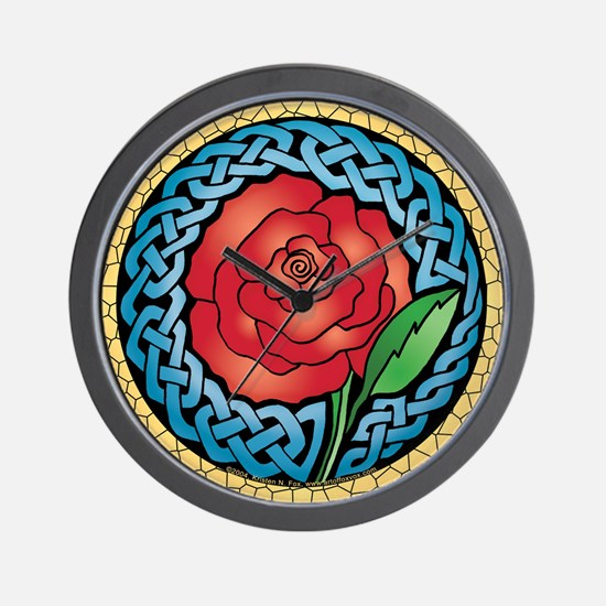 Celtic Rose Stained Glass Wall Clock