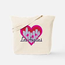 Los Angeles Skyline Heart Tote Bag