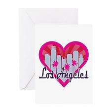 LA Skyline Sunburst Heart Greeting Cards