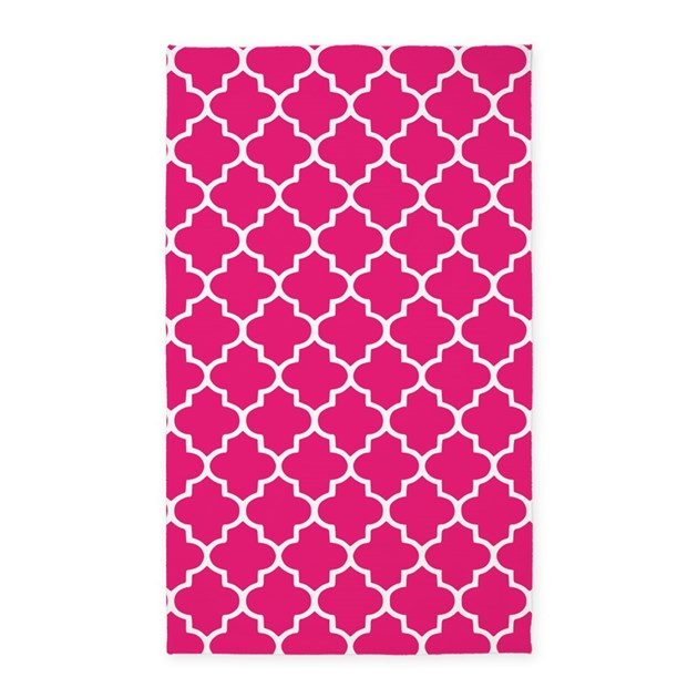 Hot Pink Quatrefoil Pattern 3'X5' Area Rug By