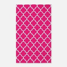 Hot Pink Quatrefoil Pattern 3'X5' Area Rug