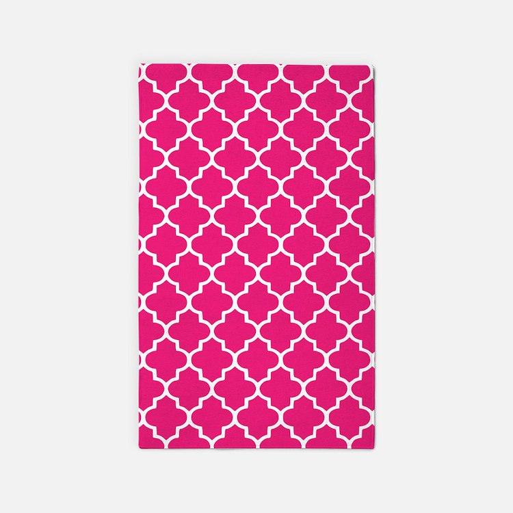 Hot Pink Quatrefoil Pattern 3'X5' Area Rug