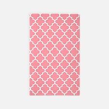 Coral Pink Quatrefoil Pattern 3'X5' Area Rug