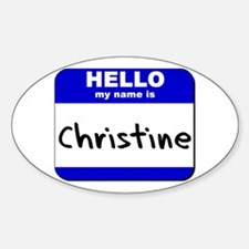 hello my name is christine Oval Decal