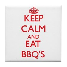 Keep calm and eat Bbq'S Tile Coaster