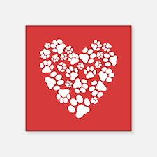 Dog Paw Prints Heart Sticker