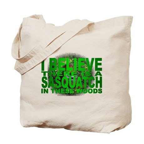sasquatch in woods Tote Bag