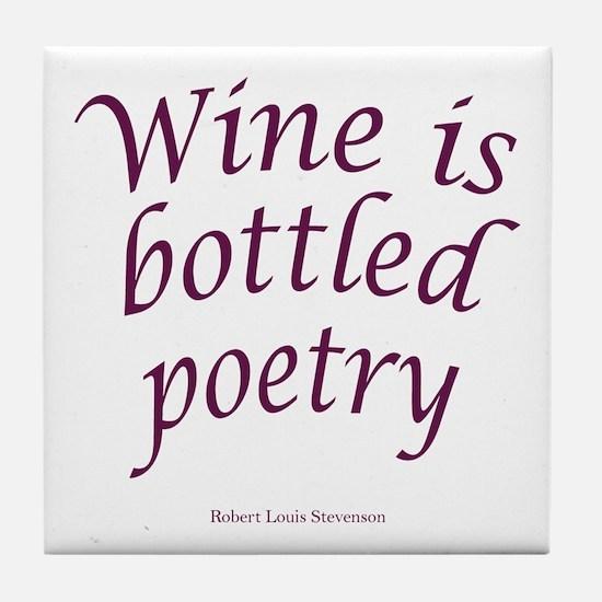 Wine Bottled Poetry Tile Coaster