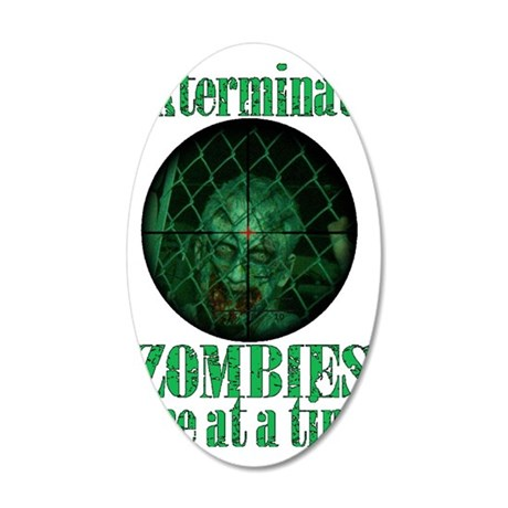 zombie exterminationg 35x21 Oval Wall Decal