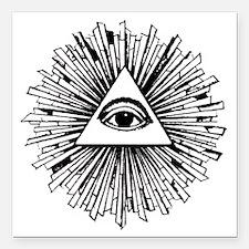 """Illuminati Pyramid Eye Square Car Magnet 3"""" x 3"""""""