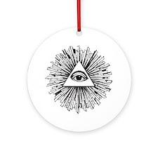 Illuminati Pyramid Eye Round Ornament