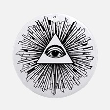 Illuminati Pyramid Eye Round Ornament