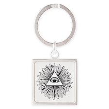 Illuminati Pyramid Eye Square Keychain