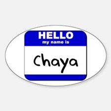 hello my name is chaya Oval Decal