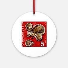Vintage 1965 Switzerland hedgehogs  Round Ornament