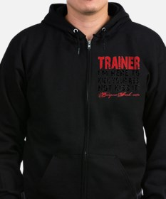TRAINER - KISS IT - WHITE Zip Hoodie