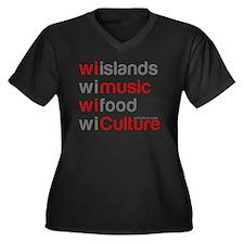 wi islands w Women's Plus Size V-Neck Dark T-Shirt