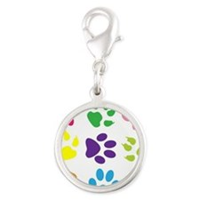 Colorful Paw Prints Silver Round Charm