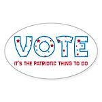Patriotic Vote Oval Bumper Sticker