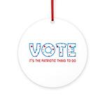 Patriotic Vote Keepsake Ornament (Round)