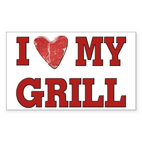 I love my Grill Sticker (Rectangle)